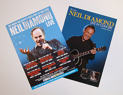 Neil Diamond - set of 2 UK A5 tour flyers from 2002 & 2005...ideal for framing!
