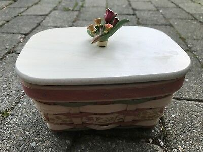 Longaberger 2012 Mother's Day Basket Floral Lid Liner Protector NWT Jewelry Box