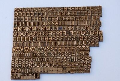 LETTERS & NUMBERS BRASS or BRONZE PRINTING BLOCKS TYPE PLATES  - MASSEELEY ?