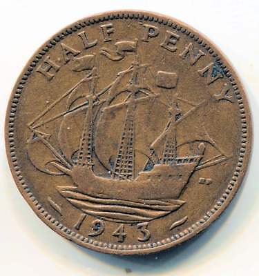 Great Britain 1943 Half Penny Coin - United Kingdom England King George VI