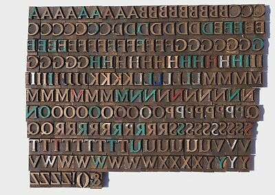 UPPERCASE LETTERS BRASS or BRONZE PRINTING BLOCKS TYPE PLATES  - MASSEELEY ?