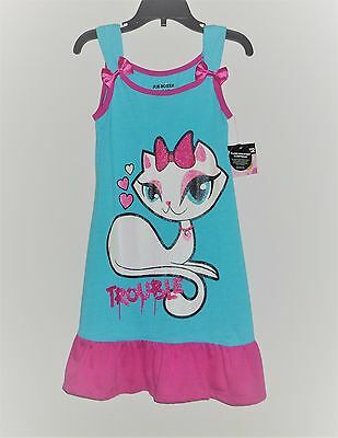 """JOE BOXER """"Trouble"""" Sparkle Kitty Cat, Flame Resistant Nightgown NWT Size 4/5"""
