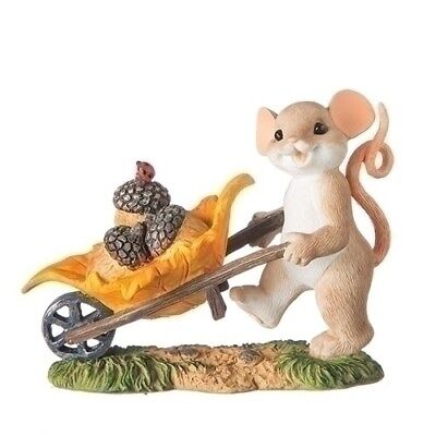 Charming Tails Thanksgiving Harvest Mouse With Wheel Barrow New 2018 131644