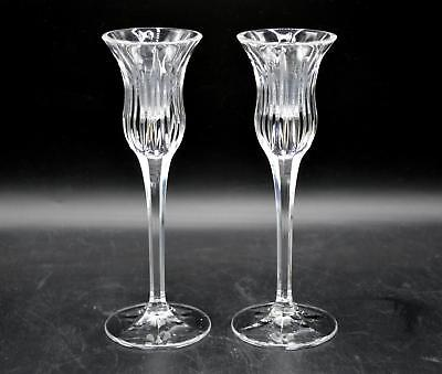 "Pair of 2 Beautiful Crystal Stemmed 8"" Tall Candlestick Holders"