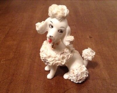 Cute Vintage White Spaghetti Poodle Porcelain/ceramic Dog Figurine