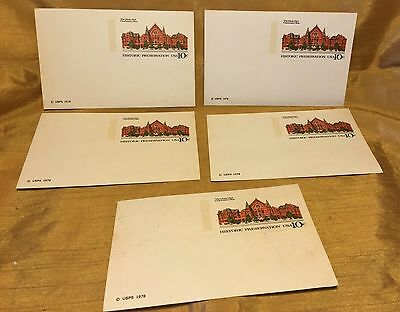Lot of 5 Unused Music Hall HISTORIC PRESERVATION 10 Cent Pre-Stamped Post Cards