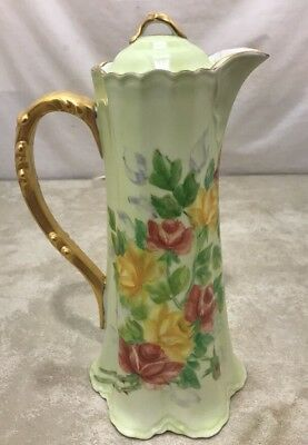 ANTIQUE NIPPON GOLD HAND PAINTED ROSES PORCELAIN PITCHER/EWER w/ LID Pilaggi 75