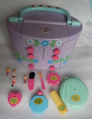 Vintage Polly Pocket 1991 Pullout Playhouse Variation with all Dolls and Make-Up