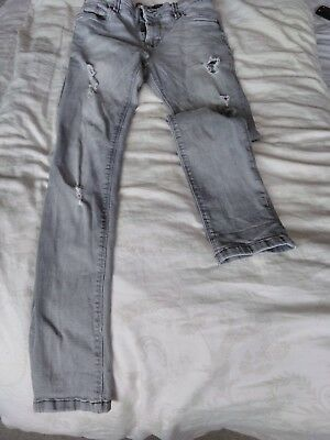 Boys Grey Next Super Skinny Distressed Jeans Age 14 Years