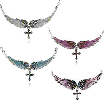 Angel Wings with Cross Necklace Pendant and Chain Multiple Colors Available