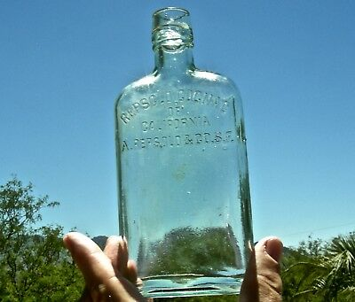 """ca 1900 SAN FRANCISCO CALIFORNIA """"REPSOLD COGNAC"""" WESTERN FOOTED WHISKEY FLASK"""