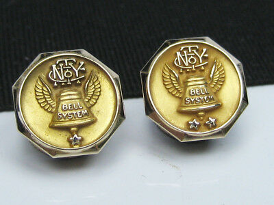 2 Vintage NYC BELL SYSTEM TELEPHONE CO. 10K Gold Lapel Tie Pin Badges New York