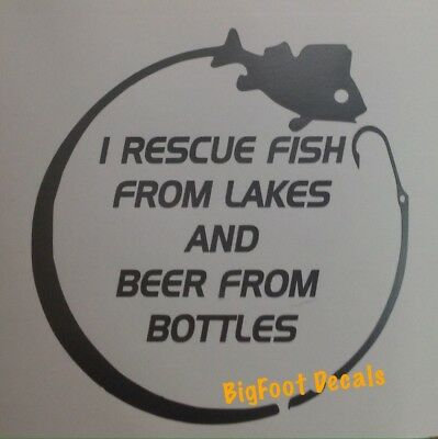 Funny Fishing And Beer Decal Fish Car Truck Jeep SUV Boat Vinyl Window Sticker