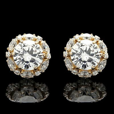 2CT Halo Marquise Round Created Diamond Stud Earrings 14k Solid Yellow Gold