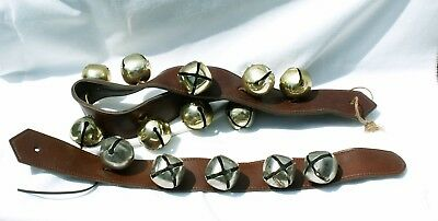 2 Vintage Sleigh Bells on Leather Look Straps ~ 5 Silver Tone & 9 Gold Tone