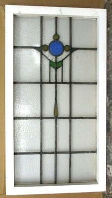 "LARGE OLD ENGLISH LEADED STAINED GLASS WINDOW CIrcle & Geometric 19"" x 34.75"""