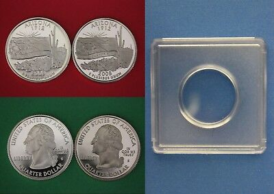 Silver /& Clad 2008 S Alaska Proof Deep Cameo State Quarters With 2x2 Cases