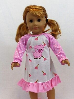 "Pink Piggie Nightgown Pajamas Fits 18"" American Girl Doll Clothes"