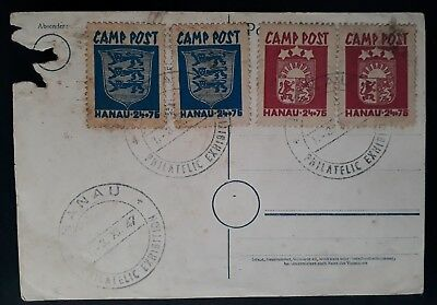 RARE 1947 Latvia Postcard with 4 Hanau Displaced Persons Camp Post stamps