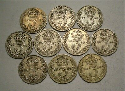 Collection Lot Great Britain (UK) Three Pence Silver Coins*10 Coins*1911 - 1920*