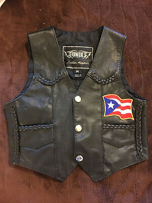 Vtg  UNIK Punk Moto Black Leather Sleeveless Jacket Vest Kids Childrens Sz M