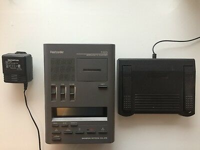 Olympus Pearlcorder T1100 with foot pedal TESTED WORKING