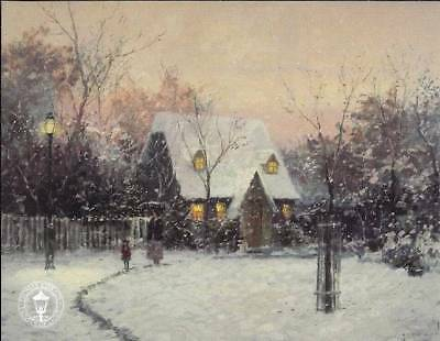 A WINTER'S COTTAGE Thomas Kinkade Postcard Art Holiday Snow