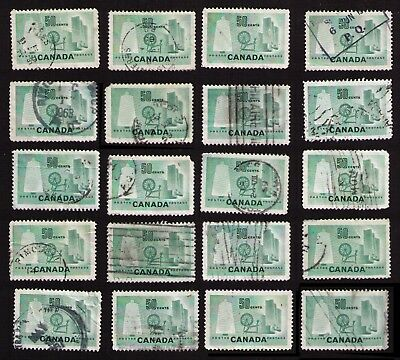 """CANADA 1953 STUDY LOT OF 20 OLD 50c #334 """"TEXTILE INDUSTRY"""" MIXED CONDITION"""
