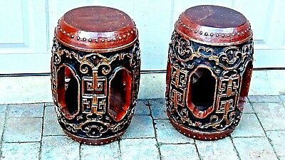 Pair Vtg Chinese Teak Garden Stools Relief Carving And Polichrome Decorations