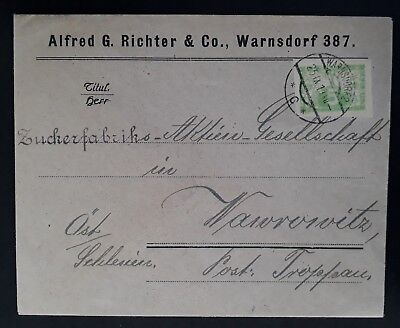 RARE 1919 Czechoslovakia Cover ties 5H yellow green Express stamp canc Warnsdorf