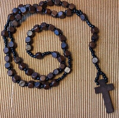 Natural Boho Crafted Brown wooden Bead Crucifix Rosary Beads