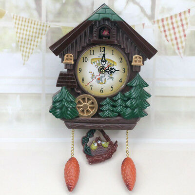 Vintage Style Wall Clock Bird Time Bell Swing Alarm Wooden Home Decor Durable