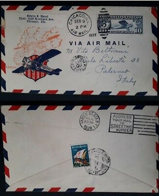 SCARCE 1928 United States Airmail Int Aeronautical Exhbn Chicago Cover 10c stamp
