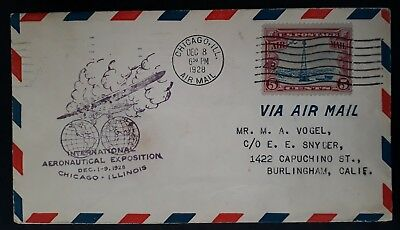 SCARCE 1928 United States Airmail Int Aeronautical Exhibn Chicago Cover 5c stamp