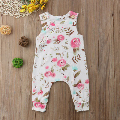 Canis Infant Toddler Baby Kids Floral Girls Romper Jumpsuit Playsuit Outfit Cute