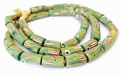 Old Rare Antique Venetian Green Fancy Eye Wound glass African trade beads