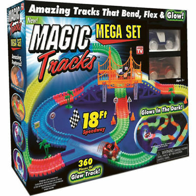 Magic Tracks 18 ft 360 Pcs Mega Set With LED Race Cars Colorful Glow In The Dark