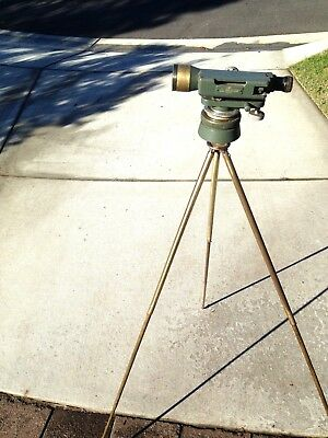 Vintage Watts Dumpy Level On Brass Tripod  Both Units Look Vgc --40 Inches Tall