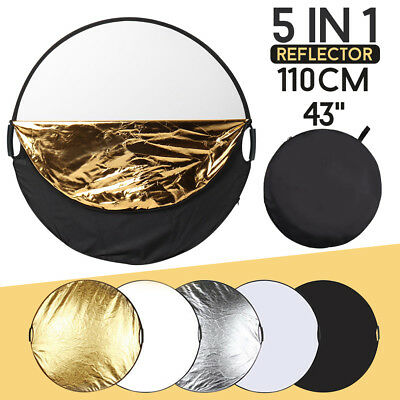 110cm 5in1 Photo Studio Reflector Photography light Collapsible & Handle Grip AU