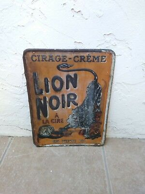 1920's French Lion Noir Car Wax Tin Embossed Advertising Sign