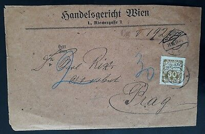 RARE 1919 Austria Vienna Commercial Court Cover ties 30H Czech postage Due stamp