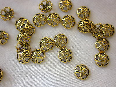 30 Gold Coloured 10mm Heart Bead Caps #bc1777 Combine Post-See Listing
