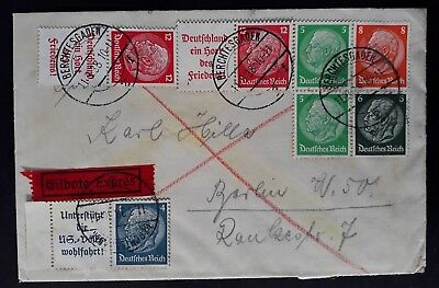 RARE 1938 Germany Express Cover ties 7 Hindenburg stamps with tabs to Berlin