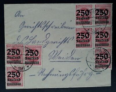 RARE 1923 Germany Hyperinflation Cover ties 8 Value stamps canc Königstein
