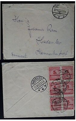 RARE 1923 Germany Hyperinflation Cover ties 6 x 5 Mill Mk stamp canc Flensburg