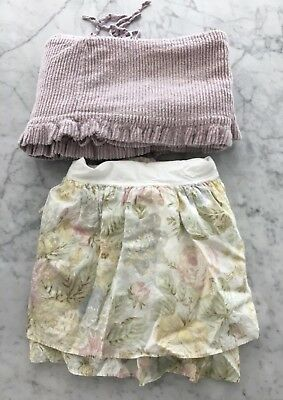 Bella Notte Baby Floral Linen Crib Skirt Dust Ruffle and Chenille Bumper