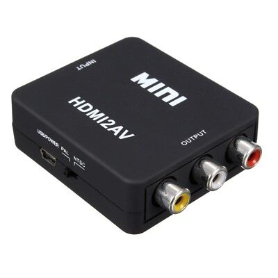MINI HDMI to 3RCA CVBS Composite Video AV Converter Adapter TV PS3 VHS VCR J6O2