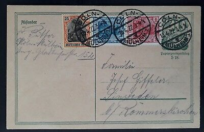 SCARCE 1922 Germany Postcard ties 4 stamps canc Cöln to Rommerskirchen