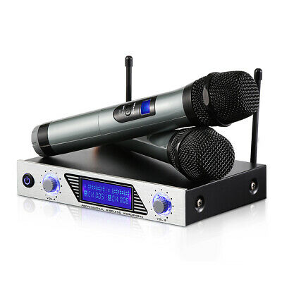 UHF Bluetooth Wireless Microphone System + 2 Handheld Cordless Mics karaoke Home