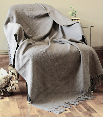Charcoal Grey Woven Rustic Throw Blanket For Sofa and Couch By RAJRANG